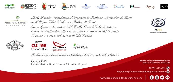 Fiera Mondiale Campionaria del Peperoncino invito cena Rinaldi Foundation ASl CigarClub